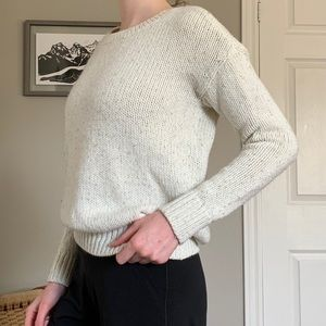 White and gold knit sweater